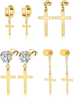 4 Pairs Stainless Steel Cross Dangle Hinged Hoop Earrings Huggie Earrings Piercing CZ Stud for Men Women Silver Gold Black Tone