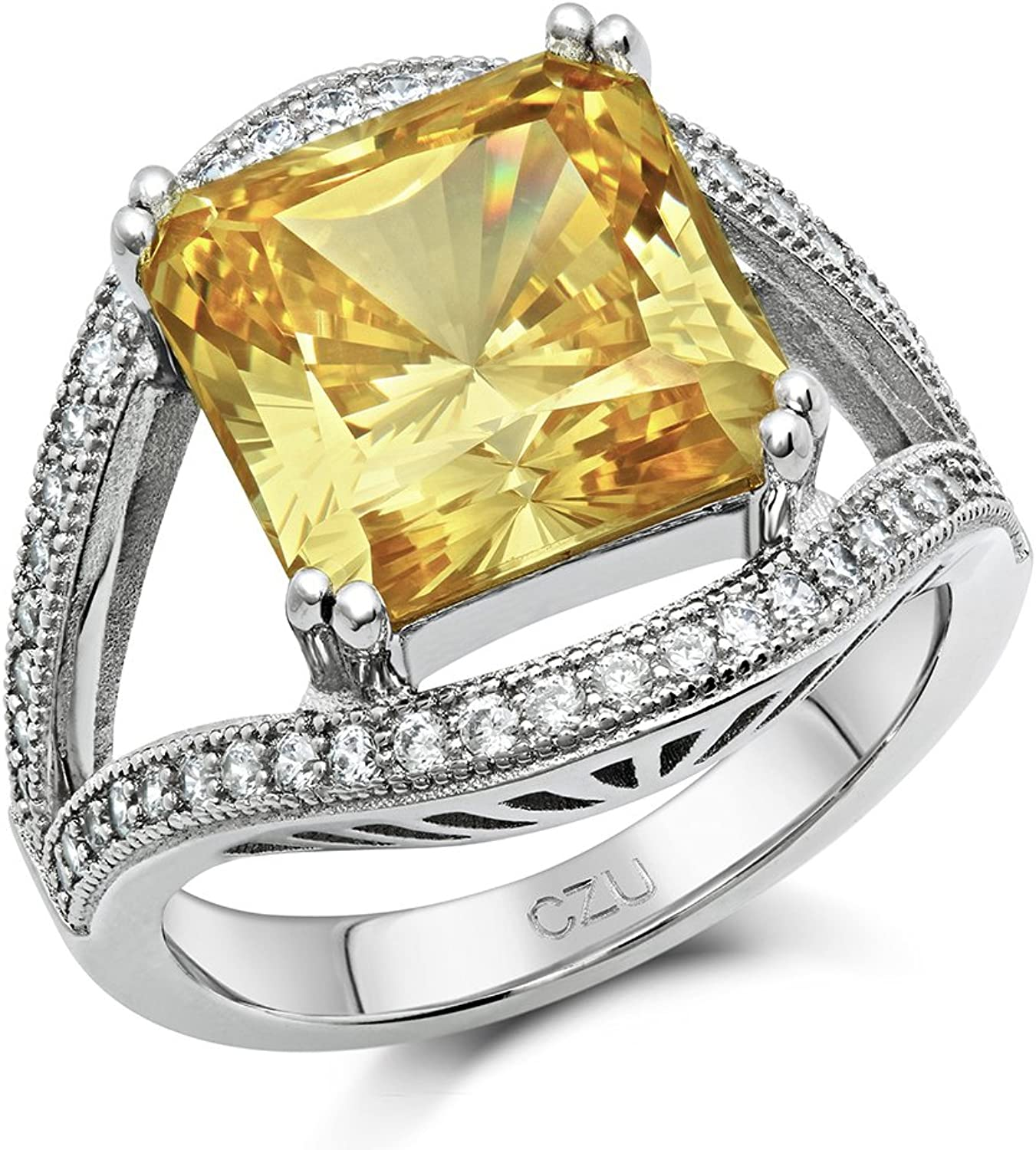 DTLA Canary Yellow Princess Cut Signity CZ Ring in Sterling Silver (8)