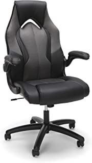 Essentials by OFM ESS-3086-GRY Ess-3086 High-Back Racing Style Bonded Leather Gaming Chair, Gray (Renewed)