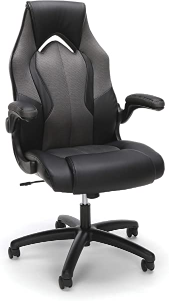 Essentials By OFM ESS 3086 GRY Ess 3086 High Back Racing Style Bonded Leather Gaming Chair Gray Renewed