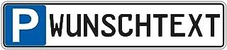 Schilderio Parkplatzschild mit Ihren Wunschtext oder Kfz Kennzeichen (Nummernschild, Autokennzeichen), 52x11 cm, stabile 3mm Aluminiumverbundplatte