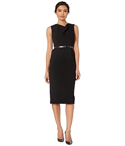 Calvin Klein Sheath Dress w/ CK Logo Belt (Black) Women