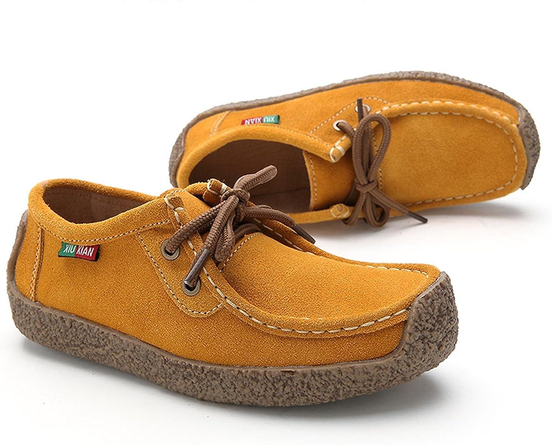XIUXIAN Xiu Xian Women Snail Casual Lace-up Genuine Leather Flat Sneaker shoes