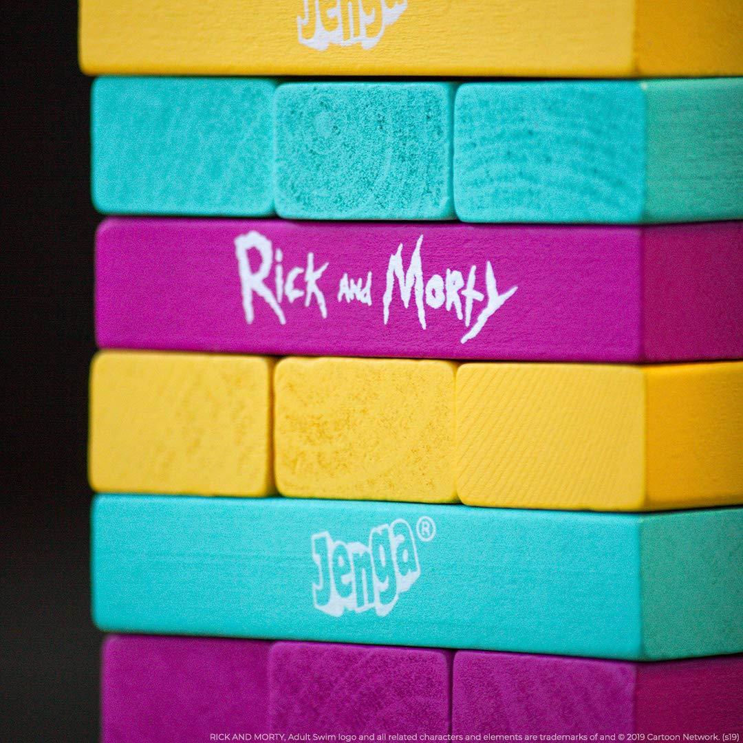 Jenga: Rick and Morty | Juego clásico de Bloques de Madera Jenga | con Ilustraciones, Personajes y más de Rick and Morty Show | Cartoon Network Rick & Morty: Amazon.es: Juguetes y juegos