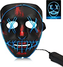 walsport Halloween Scary Mask LED Light Up Cosplay Costume Purge Mask Unisex for Halloween Festival Party