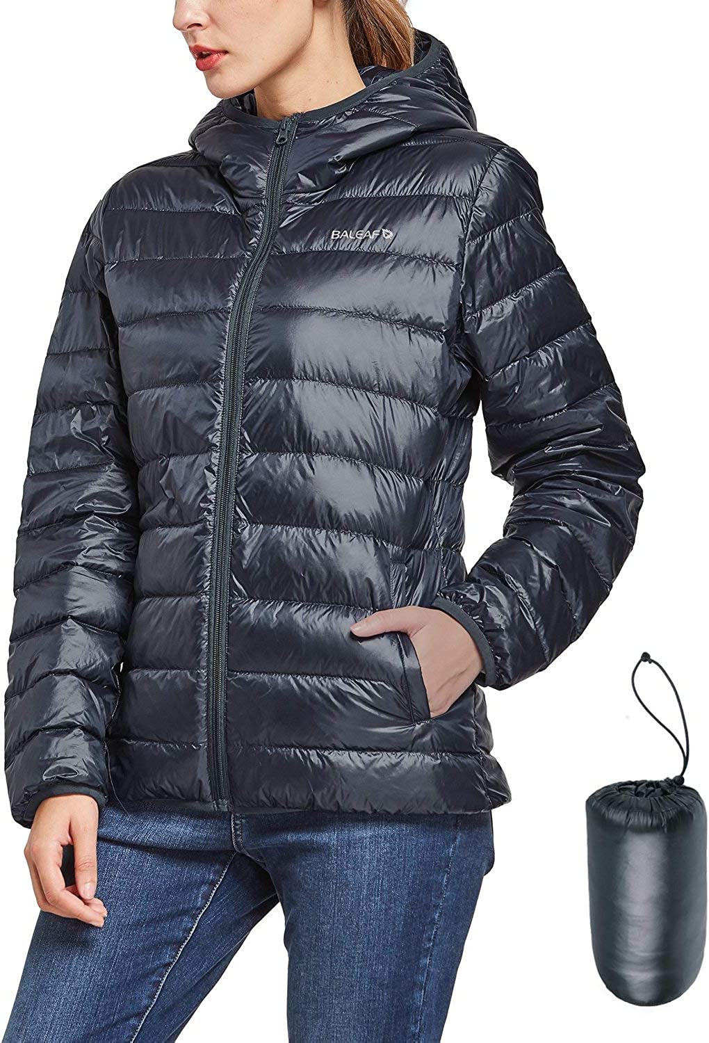 BALEAF Women's Packable Down Jacket Hooded Thermal Ultral Lightweight Puffer Jacket Hoodies Winter Insulated Coat