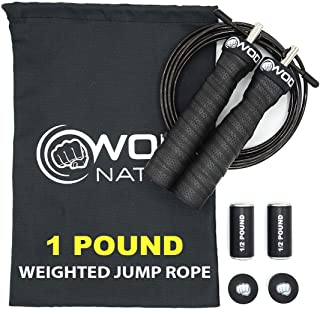 WOD Nation Weighted Jump Rope for Women & Men – 1 Pound (1LB) Adjustable Heavy..