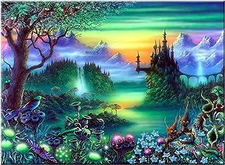 obicus 5D DIY Full Diamond Cross Stitch Painting,Living Room Decorative Wall Stickers Wallpaper,Fairy Tale World (30X40CM/...