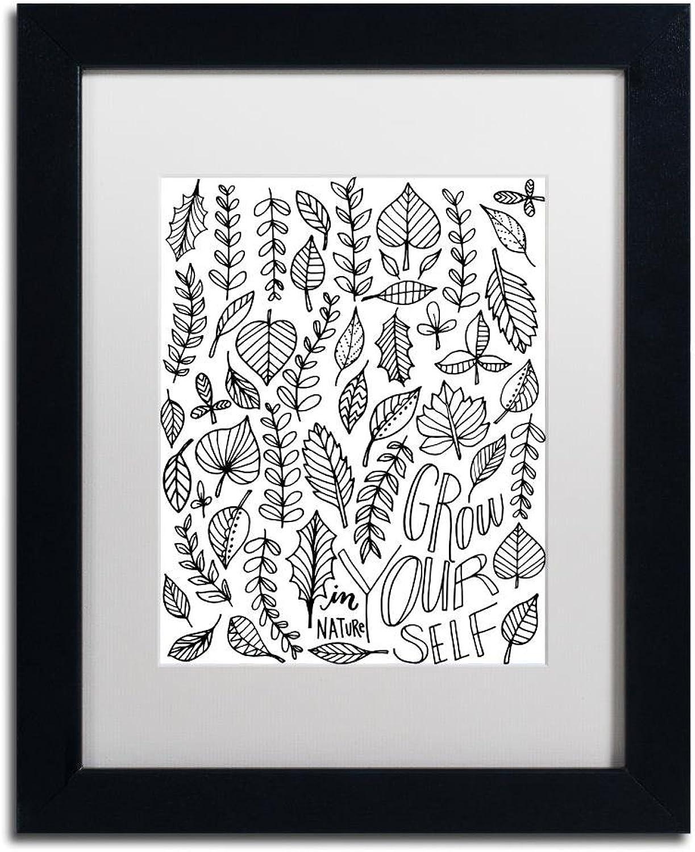 Trademark Fine Art Grow Yourself by Elizabeth Caldwell, White Matte, Black Frame, 11  X 14