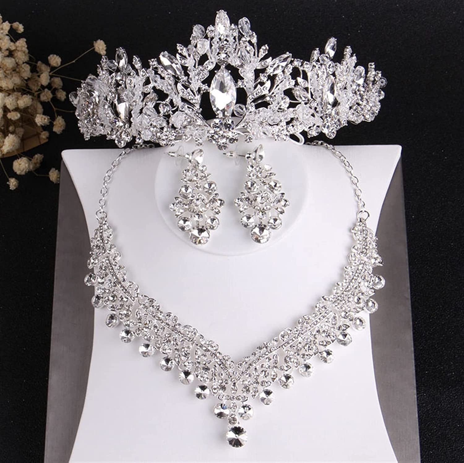 YUANBOO Baroque Luxury Crystal Beads Bridal Jewelry Sets Rhinestone Tiaras Crown Necklace Earrings Wedding African Beads Jewelry Set (Metal Color : 3Pcs Jewelry Set)