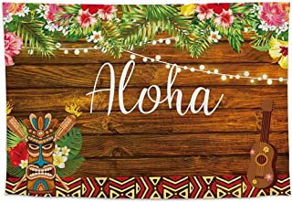 Allenjoy 8x6ft Summer Aloha Luau Party Backdrop Tropical Hawaiian Flowers Wooden Sculpture Photography Background Sea Palm Birthday Musical Party Banner Decoration Cake Table Photo Studio Booth Props
