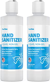 2 Pack 8oz Hand Sanitizer Liquid, Non-Gel Refill Made in USA 80% Ethanol by Curtiss