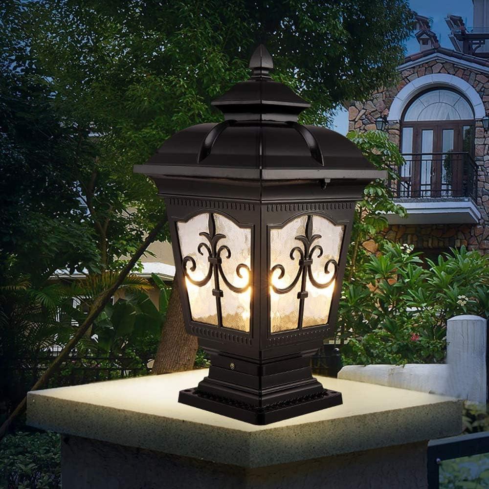 HDMY Column Light Outdoor Villa Gate Light European Garden Waterproof Light Decoration Outdoor Household Wall Pillar Lamp Wall End Patio Light Black-m