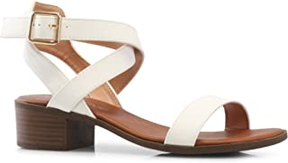 Women's Front Strap Ankle Wrap Adjustable Buckle Stacked Chunky Heel Gladiator Summer Dress Sandal