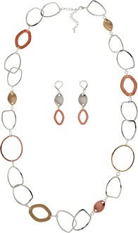 Handmade Circle Chain Link Necklace for Women Judith Stiles Jewelry Of Earth and Ocean Sparkling Long Link Necklace Silver Plated