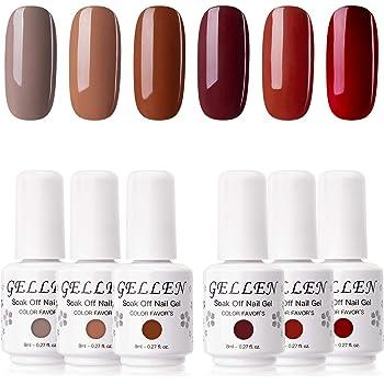 Gellen Gel Nail Polish Kit - Caramel Series Trendy Browns Earthy Coffee Reds Nail Art Gel Colors, Home Gel Manicure Set
