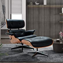 Lounge Chair and Ottoman, Mid Century Modern Classic Design, Natural Leather, High-Density Wood (A-Black Palisander,Normal 1)