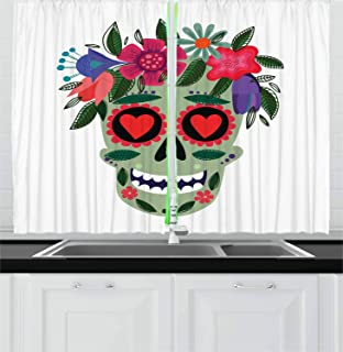 Ambesonne Sugar Skull Kitchen Curtains, Smiling Skull Wearing Floral Wreath Image Mexican Tradition Concept, Window Drapes 2 Panel Set for Kitchen Cafe Decor, 55