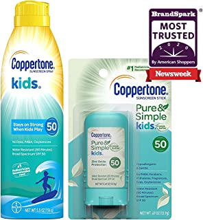 Sponsored Ad - Coppertone Kids Sunscreen Continuous Spray Spf 50, 5.5 Ounce + Pure & Simple Kids Spf 50 Sunscreen Stick, 0...