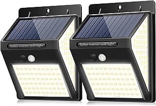 BINGONE ソーラーライト センサーライト 3面発光 屋外照明 人感センサー 3つ点灯モード 防水 防犯ライト 両面テープ付き 自動点灯 太陽光発電 ガーデンライト 屋外/玄関/廊下/軒先/駐車場 2個セット