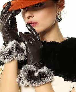 Women's Luxury Winter Warm Genuine Soft Nappa Leather Dress Gloves with 100% Rabbit Fur Cuff