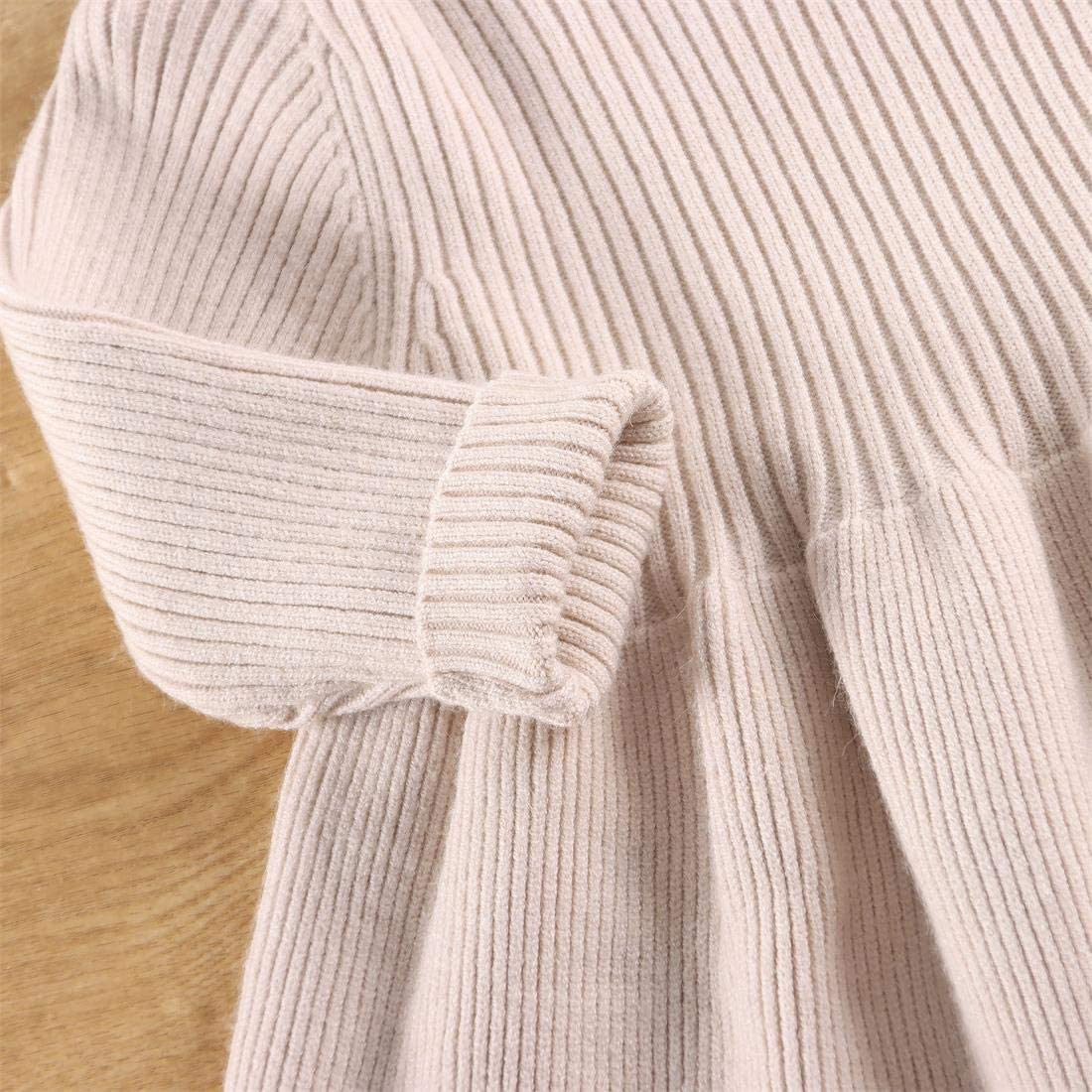 Infant Toddler Baby Girls Pleated Dress Long Sleeve Cozy Casual Ribbed Knit Sweater Dress