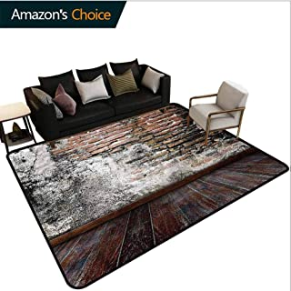 TableCoversHome Rustic Animals Area Rug Office, Worn Looking Wall Photo Pattern Printing Rugs, Durable Carpet Area Rug - Living Dinning Room Bedroom Rugs and Carpets (4'x 6')