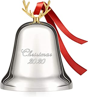 Koreno 2021 Annual Christmas Bell, Silver Bell Ornaments for Christmas Tree Decorations, Holiday Bell Jingle Bell for Anni...