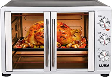 LUBY Large Toaster Oven Countertop, French Door Designed, 18 Slices, 14'' pizza, 20lb Turkey, Silver