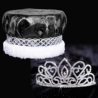 Black Crushed Satin King Crown and Adele Queen Tiara Royalty Set