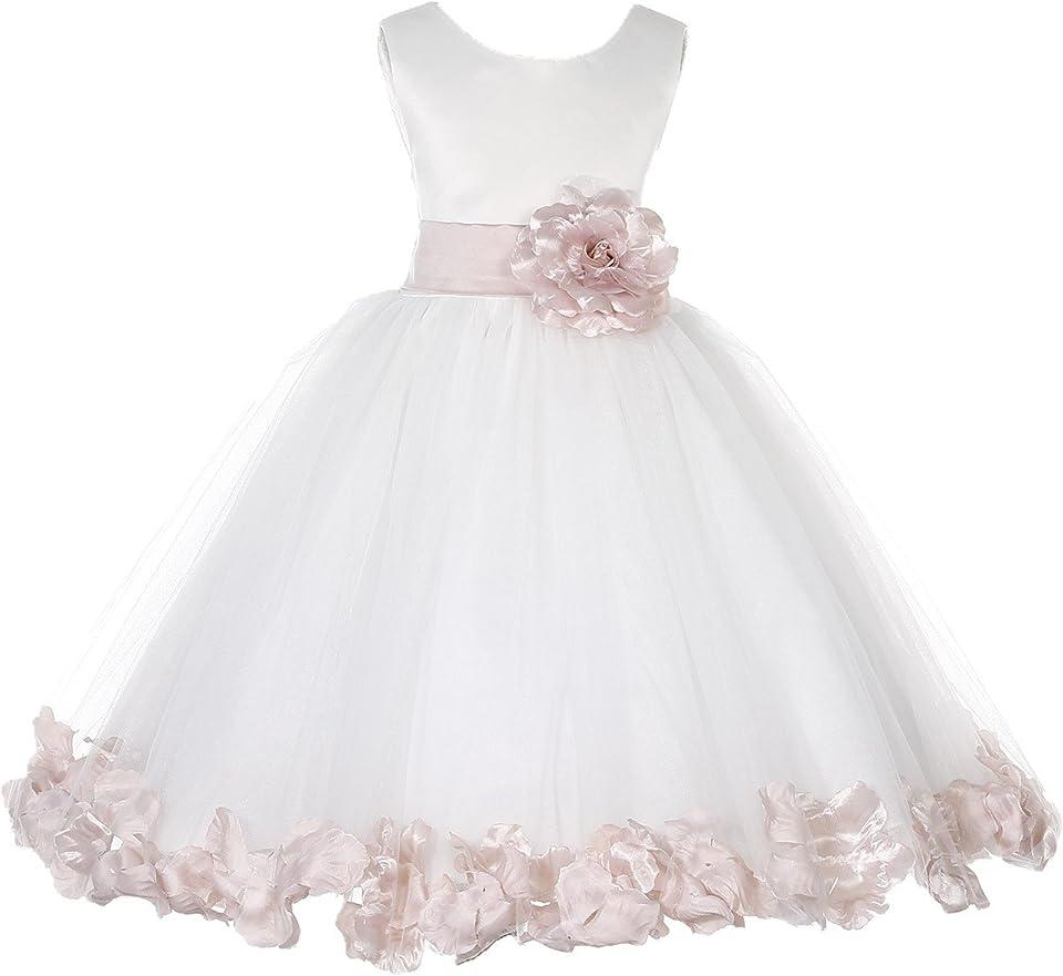 Ivory Tulle Rose Petals Formal Flower Girl Dresses Wedding Tulle Dresses 302S