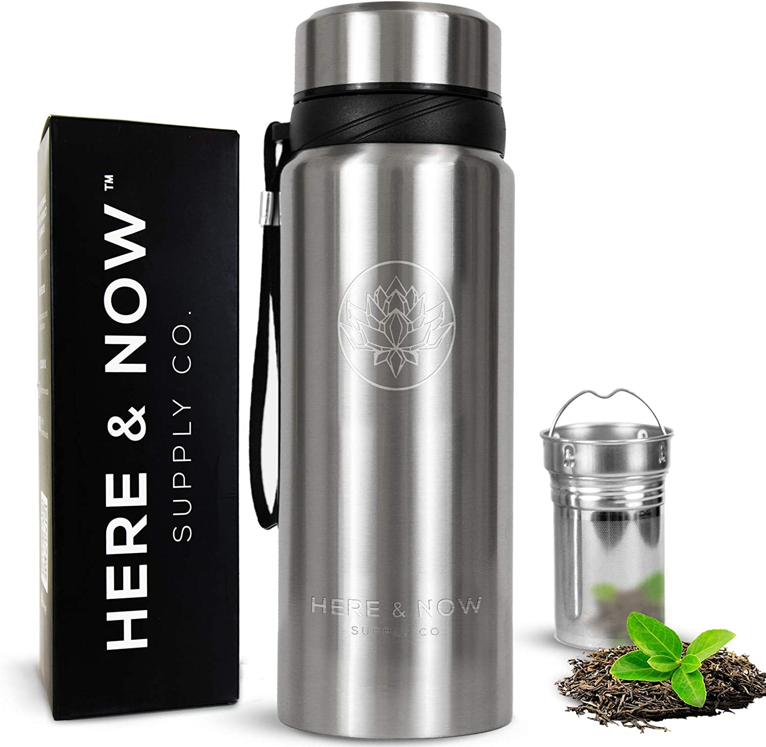 25 oz Multi-Purpose Travel Mug and Tumbler   Tea Infuser Water Bottle   Fruit Infused Flask   Hot & Cold Double Wall Stainless Steel Coffee Thermos   by Here & Now Supply Co. (Cosmic Silver)
