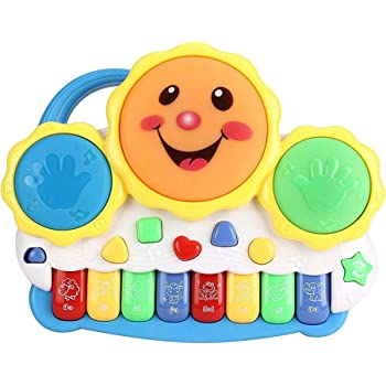 Popsugar Smiley Piano and Keyboard Musical Set with Lights for Kids, Blue