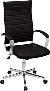 Amazon Basics High-Back Executive Swivel Office Desk Chair with Ribbed Puresoft Upholstery - Black, Lumbar Support, Modern Style