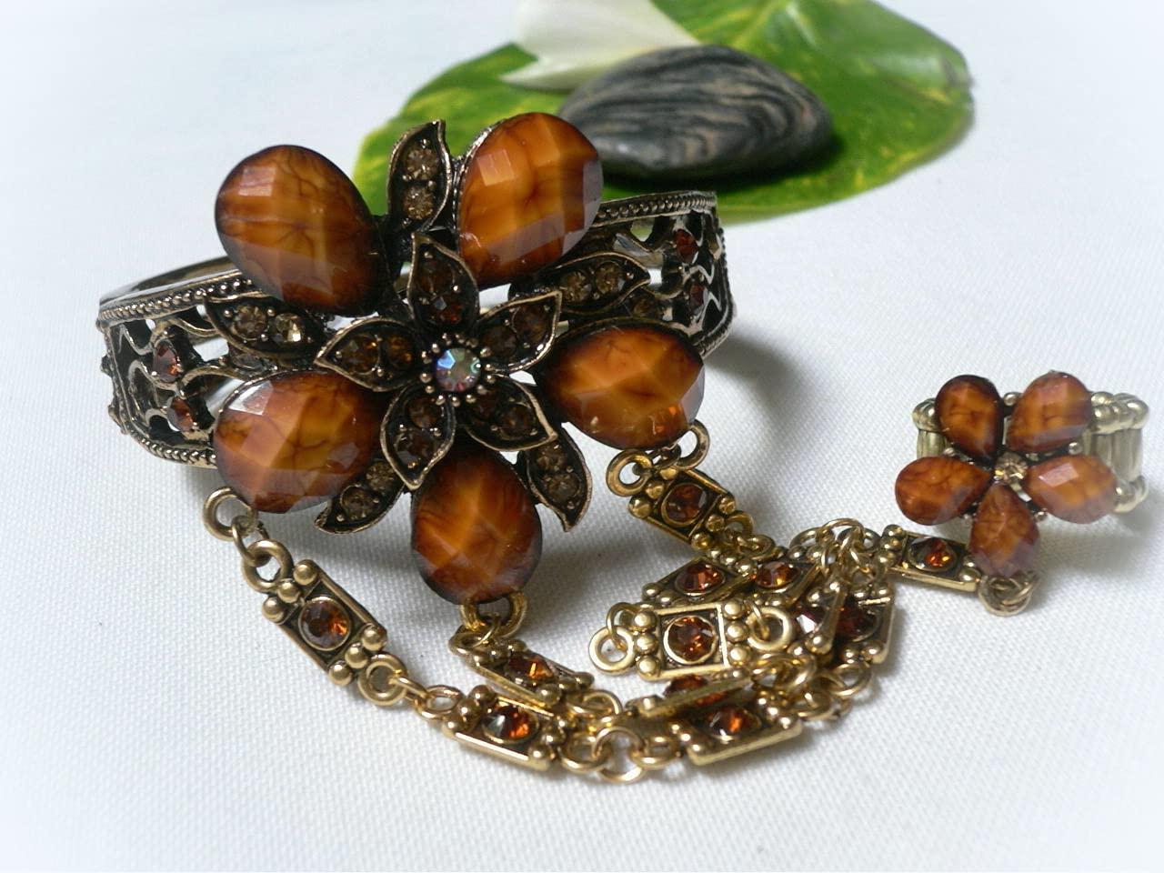 Women Metal Bling Bracelet Ring Antique Gold Cuff Brown Flower R