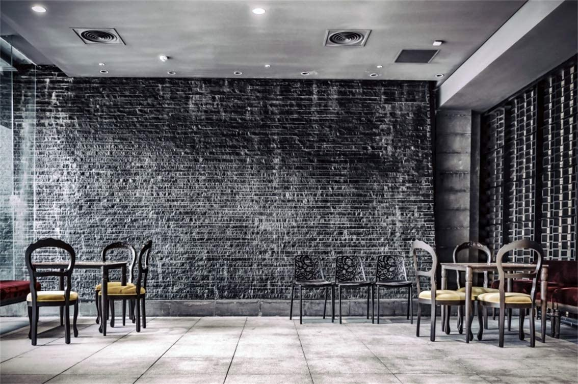 7x5FT Cafe Interior Backdrop Old Bar Vintage Brick Wall Dark Room Cowboy Resturant French Window Sunlight Photo Background Western Abandoned House Portrait Vinyl Prop Studio Wallpaper