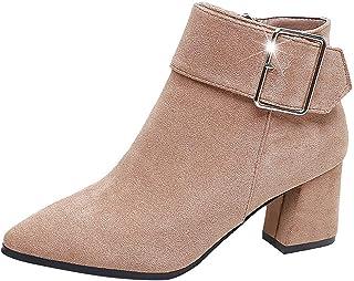 Boots Chelsea Mode Femmes - SANFASHION Bottes Talons Haut Suqare Bottes à la Cheville Zipper Unies Booties Strass Chaussur...