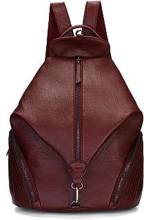 JOSEKO Rucksäcke Damen, Mode Rucksack Fraun Schultertasche Diebstahlsichere Tasche Casual Schulrucksack Messenger Tasche Handtasche Daypack für Schule Reise ArbeitWeinrot#05