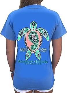 Southern Attitude Paisley Sea Turtle Carolina Blue Women`s Short Sleeve T-Shirt
