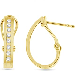 Sterling Silver 1/4 CTW Hoop Earrings (yellow-gold-plated-silver)