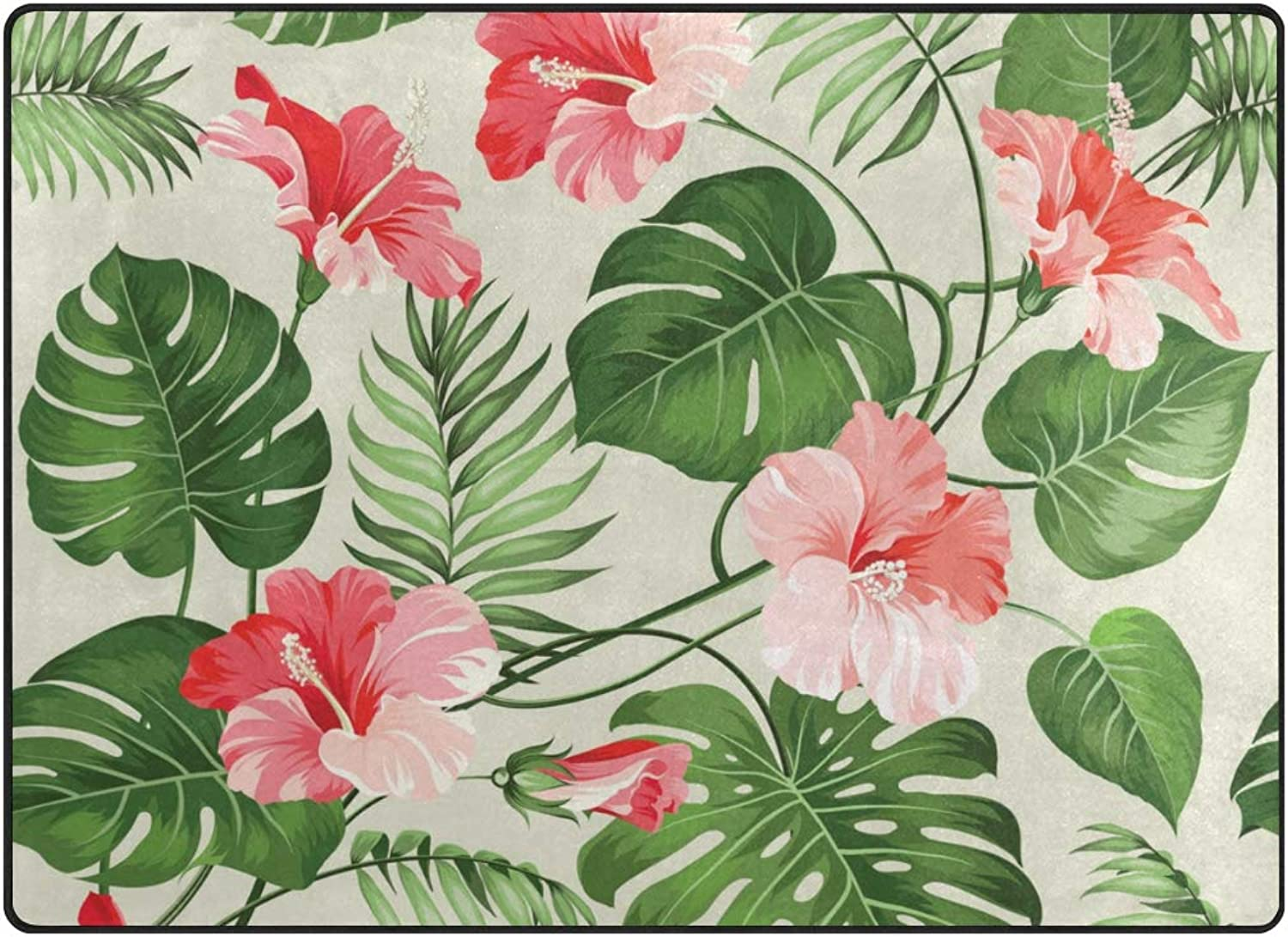 SUABO 63 x 48 inches Area Rug Non-Slip Floor Mat Doormats Living Room Tropical Pattern Printed