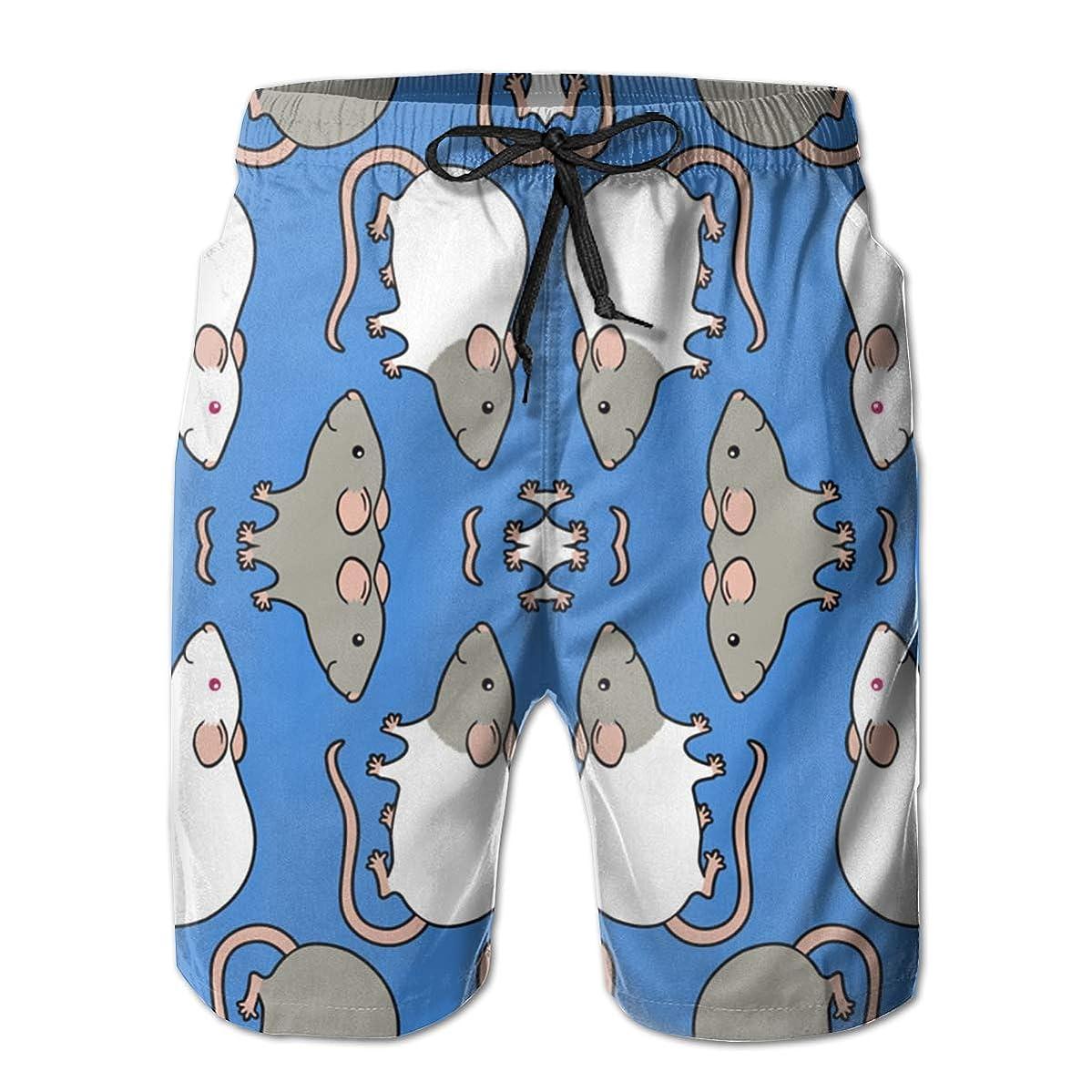 Jiqnajn6 Cute Rats Men's Swim Trunks Quick Dry Summer Surf Beach Board Shorts with Mesh Lining/Side Pockets