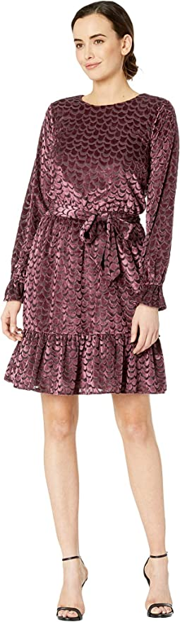 Smocked Long Sleeve Tie Dress