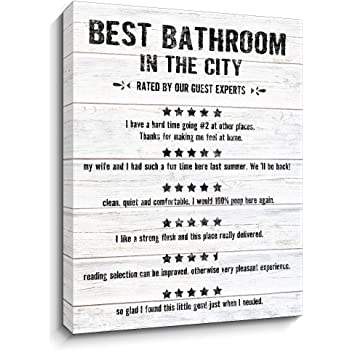 Amazon Com Guest Bathroom Canvas Wall Art Guest Reviews Of The Best Bathroom Wood Grain Background Prints Bath Rules Sign For Guest Hotel Bathroom Wall Decor 12x15 Inch White Posters Prints
