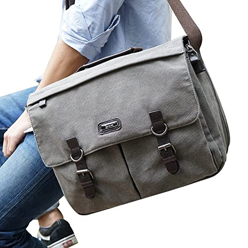 3d1fdbb60600 OXA Military Satchel Messenger Bag - Vintage Canvas Shoulder Bag for 15.6  Inch Laptop