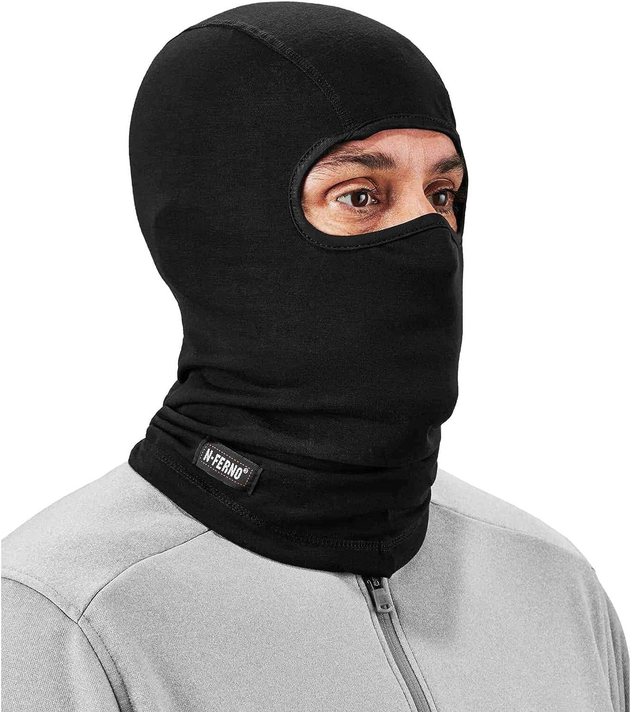 Ergodyne - 16824 Natural Wool Balaclava Ski Mask, Winter Face Mask, Moisture Wicking, N-Ferno 6824 Black