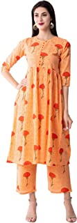 Gulmohar Jaipur Women's A-Line Cotton Printed Kurta Palazzo Set (Orange)