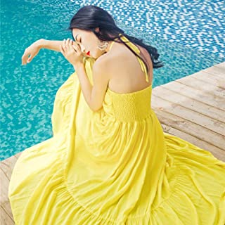 ABDKJAHSDK Summer New Arrival Beach Seaside Style Woman Solid Color Support Cotton Long Dress Yellow