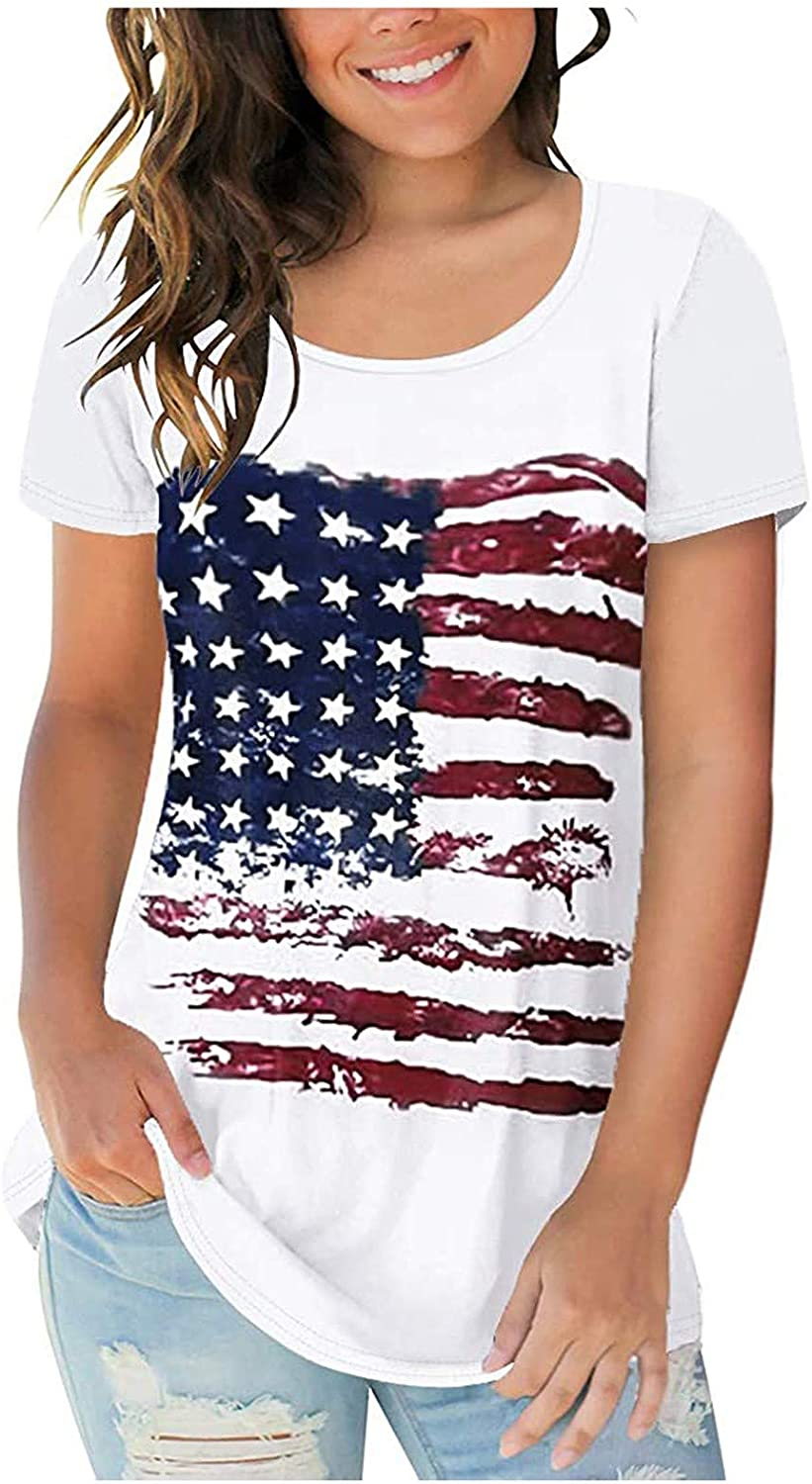 ORT July 4th Shirts for Women, Womens Fashion O-Neck Casual Short Sleeve American Flag Printed Tops Blouse