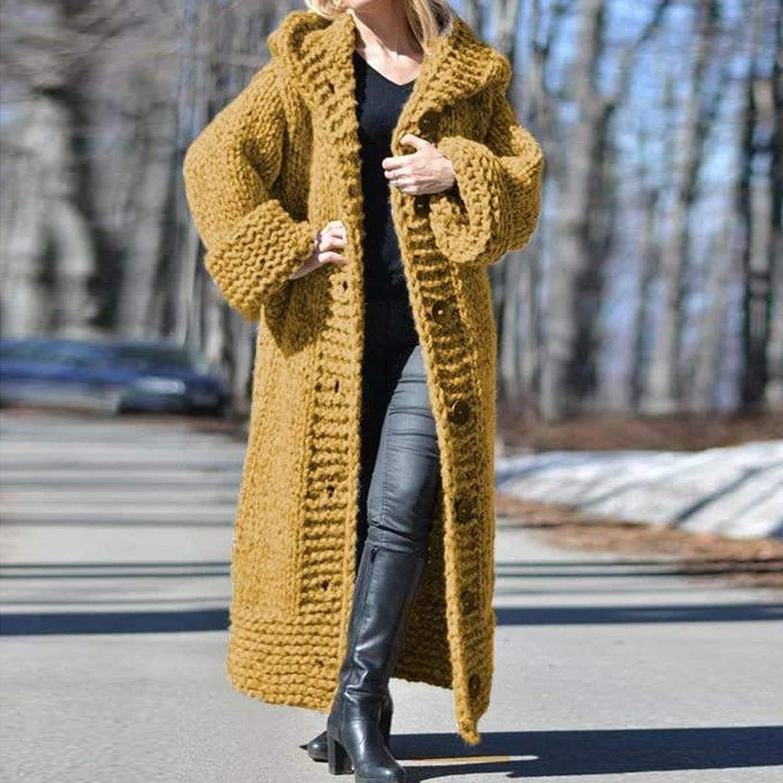 Lazzboy Strickjacke Mantel Frauen Solid Knit Button Plus Size Langarmpullover Lange Damen Langarm Cardigan Strickcardigan Hoodie Jacke Mit Kapuze Winterjacke Gelb